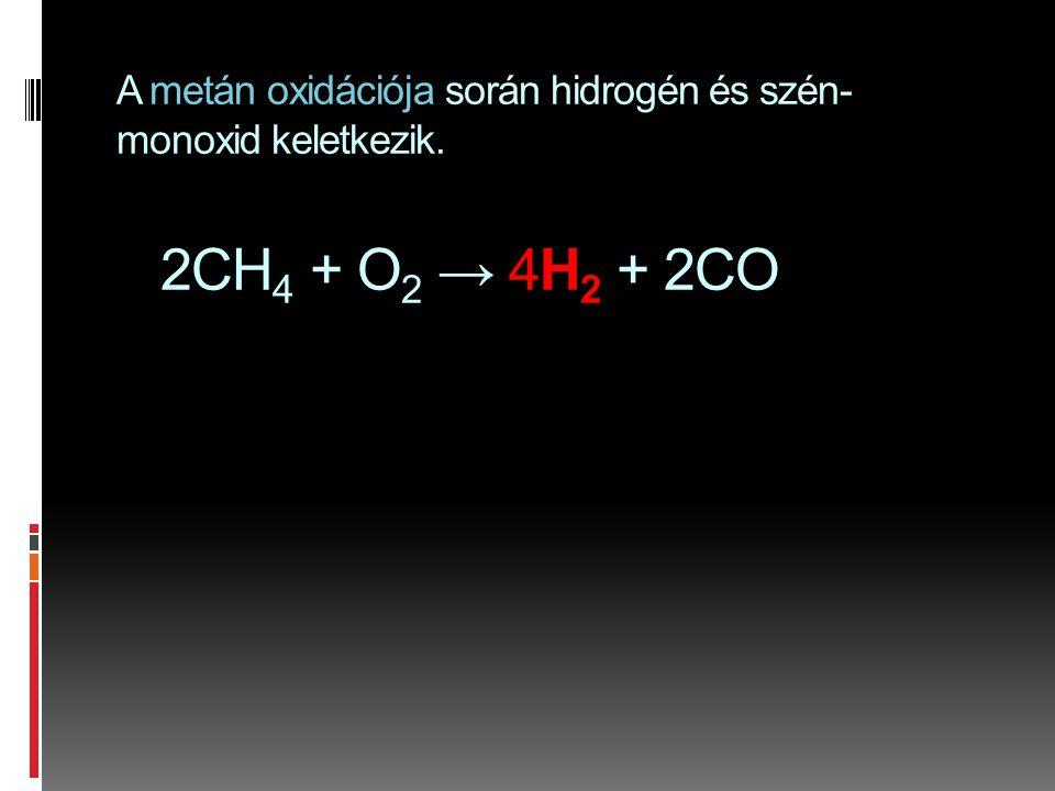 A metán oxidációja során hidrogén és szén-monoxid keletkezik