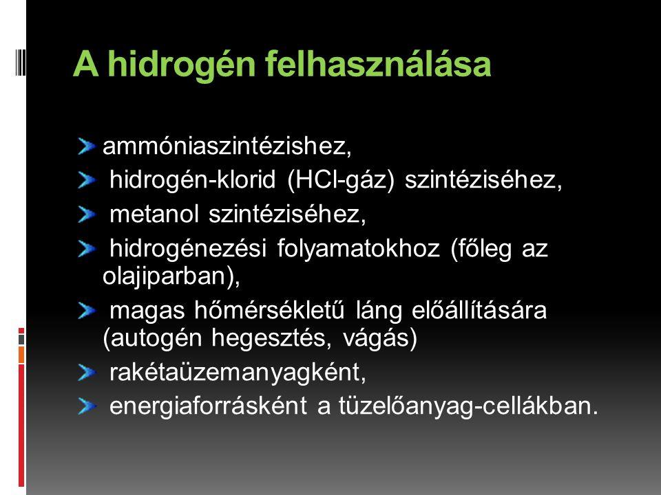 A hidrogén felhasználása
