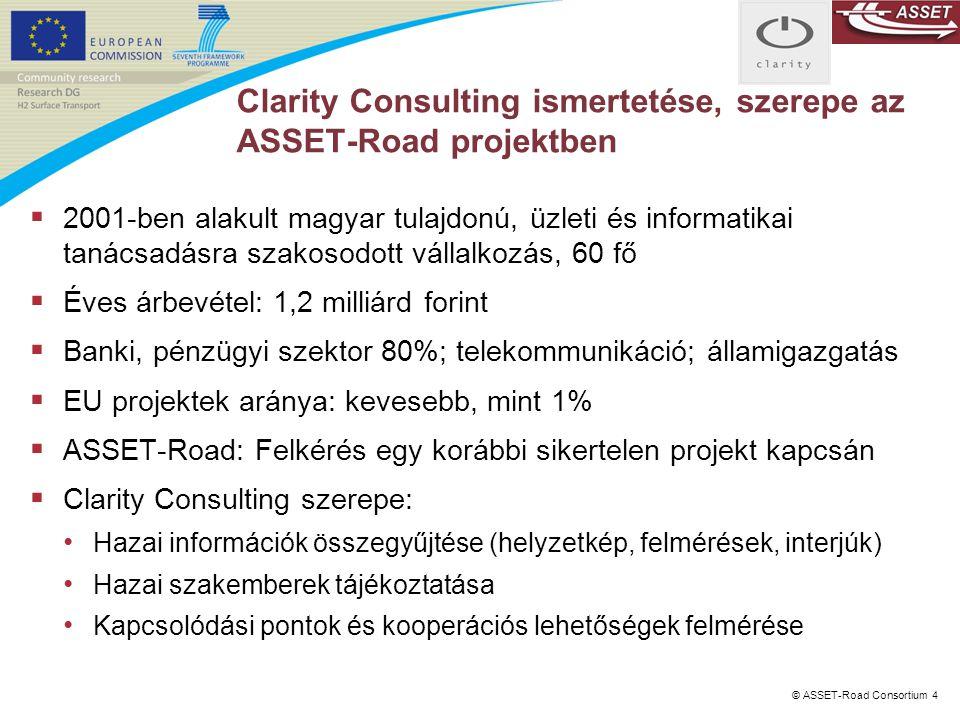 Clarity Consulting ismertetése, szerepe az ASSET-Road projektben