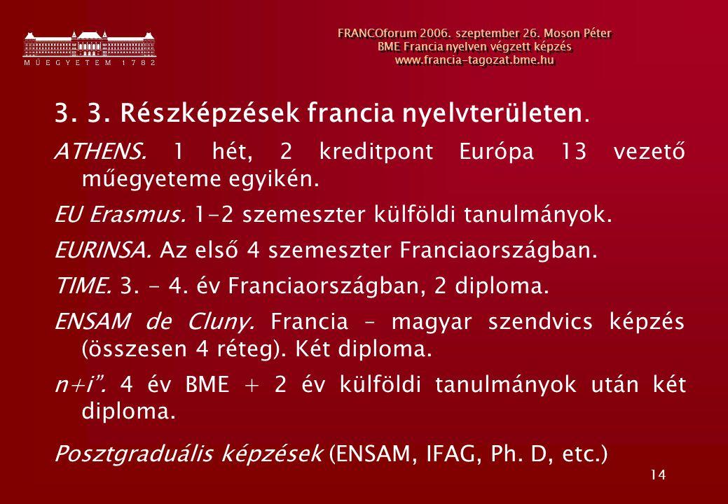 3. 3. Részképzések francia nyelvterületen.