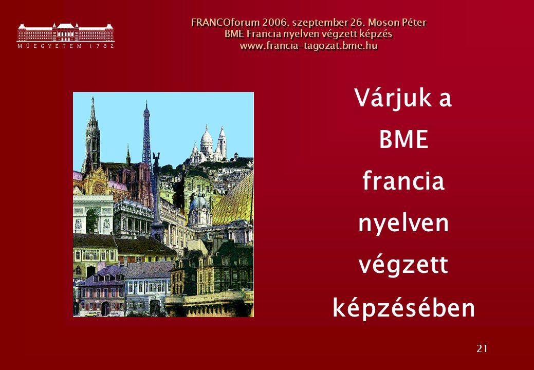 Várjuk a BME francia nyelven végzett képzésében