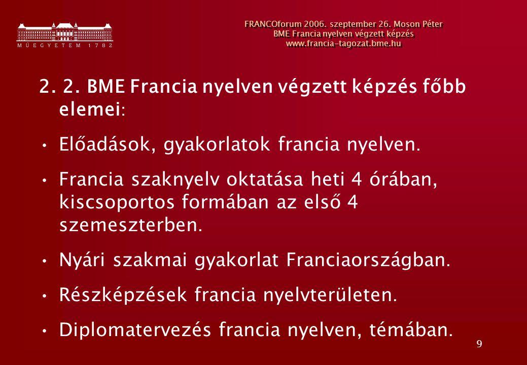 2. 2. BME Francia nyelven végzett képzés főbb elemei: