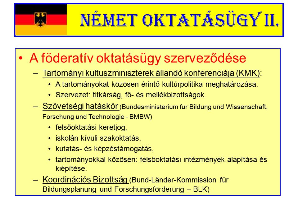 Német oktatásügy II. A föderatív oktatásügy szerveződése