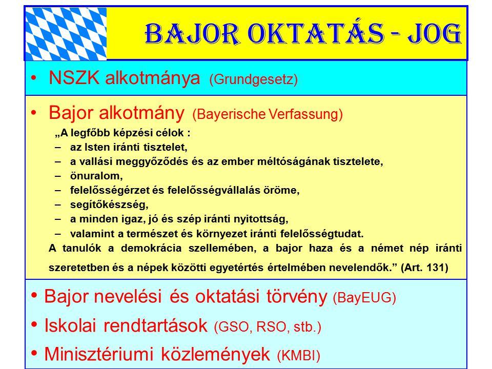 Bajor oktatás - jog Bajor nevelési és oktatási törvény (BayEUG)