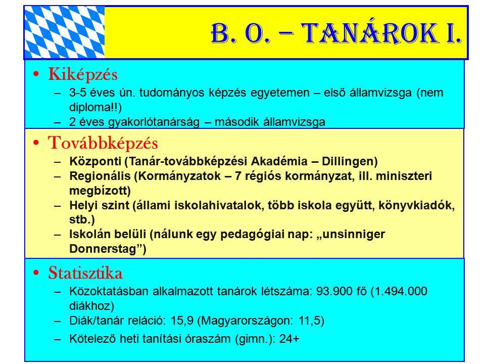 B. o. – Tanárok I. Kiképzés Továbbképzés Statisztika