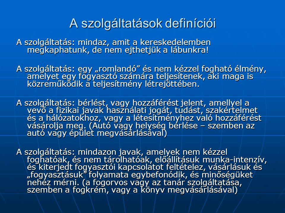 A szolgáltatások definíciói