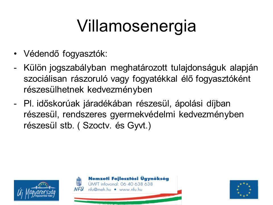 Villamosenergia Védendő fogyasztók: