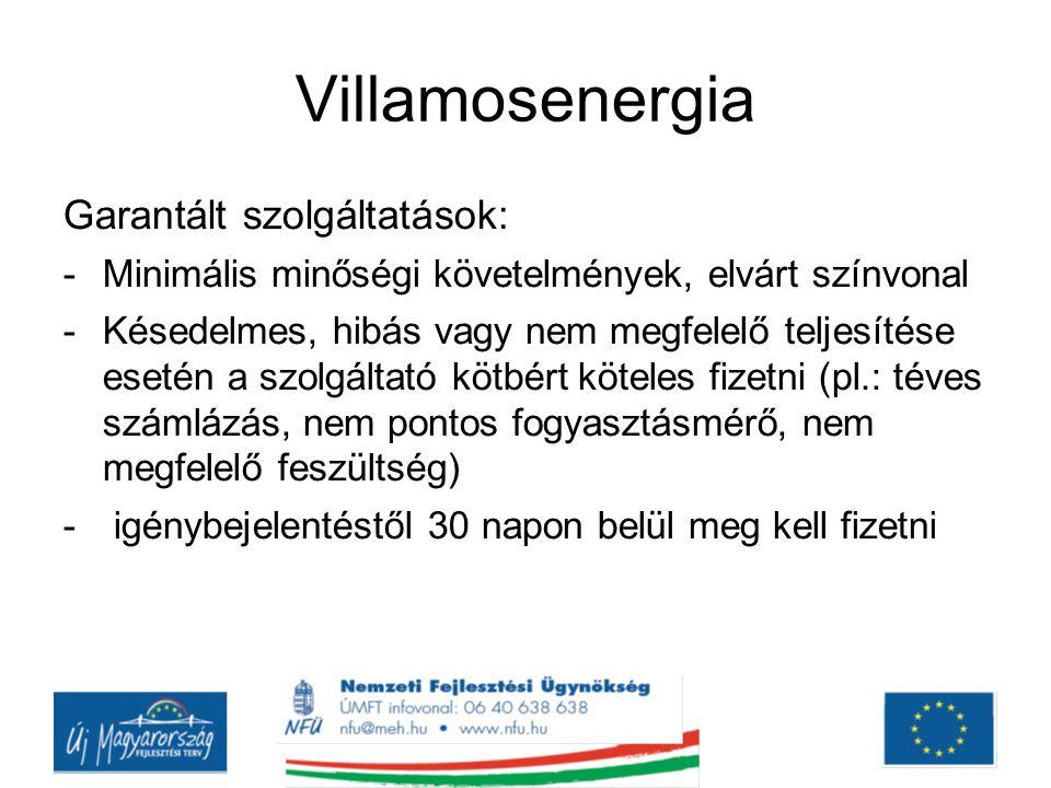Villamosenergia Garantált szolgáltatások: