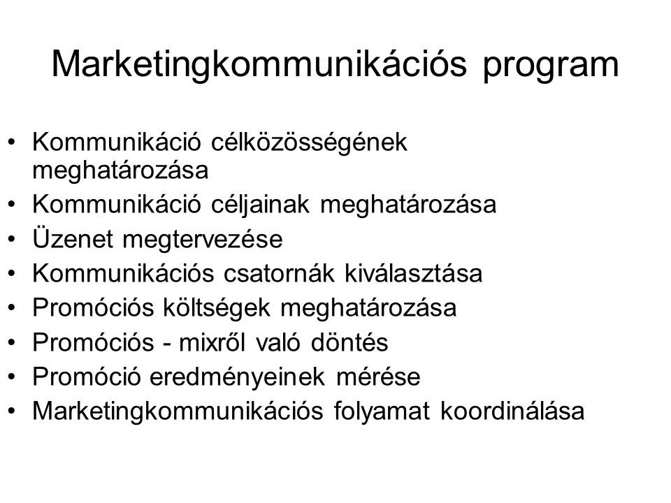 Marketingkommunikációs program