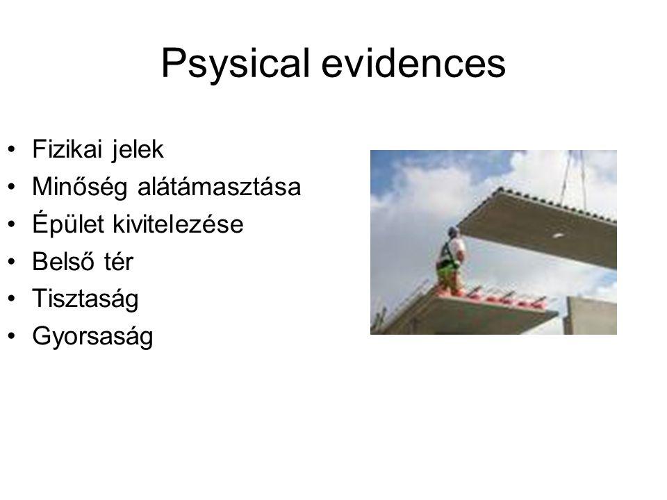 Psysical evidences Fizikai jelek Minőség alátámasztása