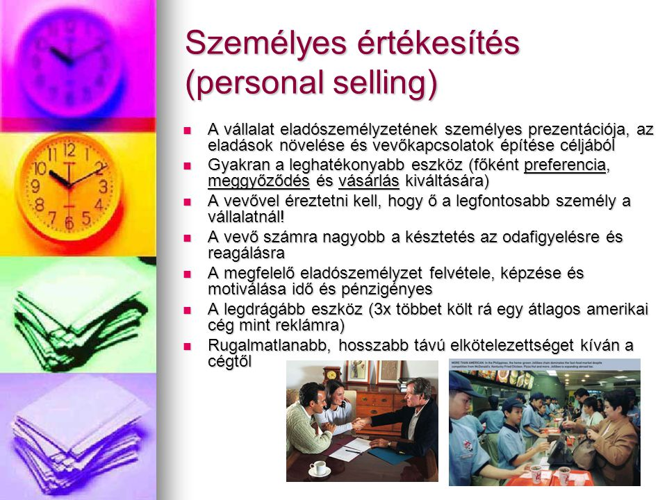 Személyes értékesítés (personal selling)