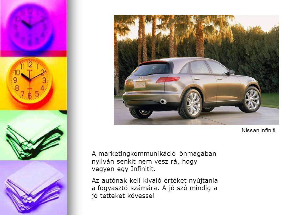 Nissan Infiniti A marketingkommunikáció önmagában nyilván senkit nem vesz rá, hogy vegyen egy Infinitit.