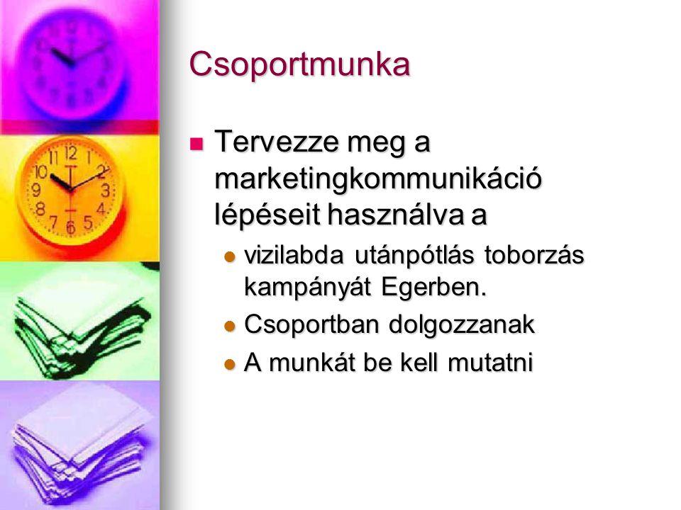 Csoportmunka Tervezze meg a marketingkommunikáció lépéseit használva a