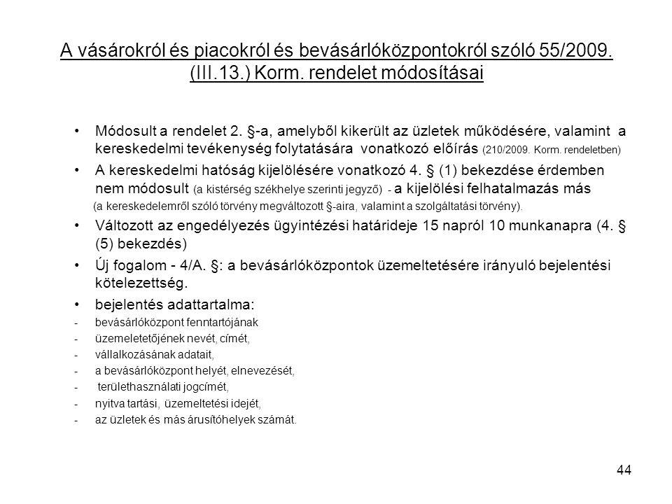 A vásárokról és piacokról és bevásárlóközpontokról szóló 55/2009. (III