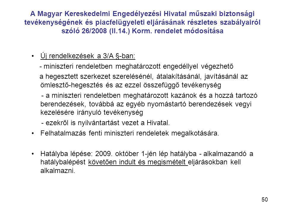 A Magyar Kereskedelmi Engedélyezési Hivatal műszaki biztonsági tevékenységének és piacfelügyeleti eljárásának részletes szabályairól szóló 26/2008 (II.14.) Korm. rendelet módosítása