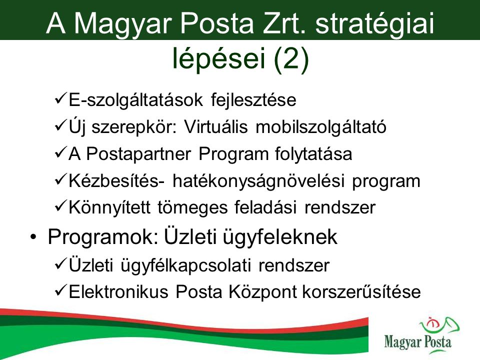 A Magyar Posta Zrt. stratégiai lépései (2)