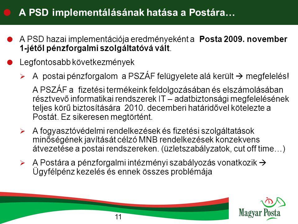 A PSD implementálásának hatása a Postára…