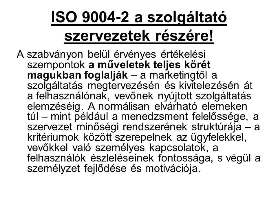 ISO 9004-2 a szolgáltató szervezetek részére!