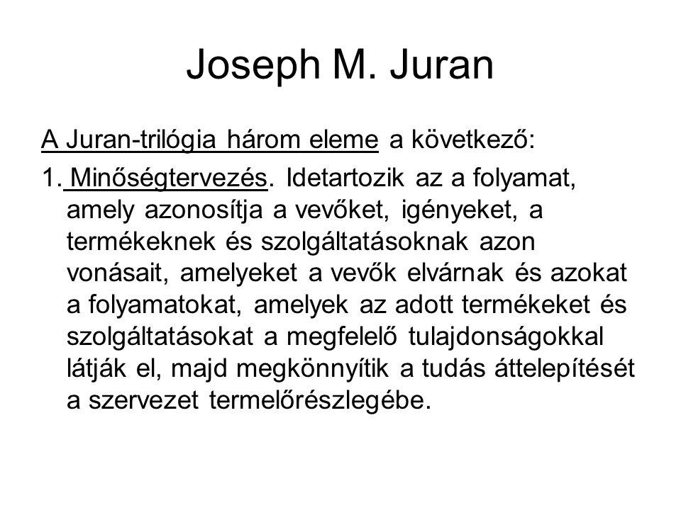 Joseph M. Juran A Juran-trilógia három eleme a következő: