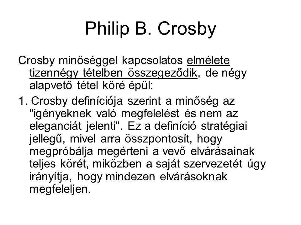 Philip B. Crosby Crosby minőséggel kapcsolatos elmélete tizennégy tételben összegeződik, de négy alapvető tétel köré épül: