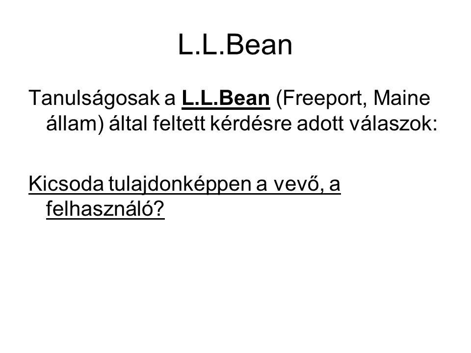 L.L.Bean Tanulságosak a L.L.Bean (Freeport, Maine állam) által feltett kérdésre adott válaszok: Kicsoda tulajdonképpen a vevő, a felhasználó