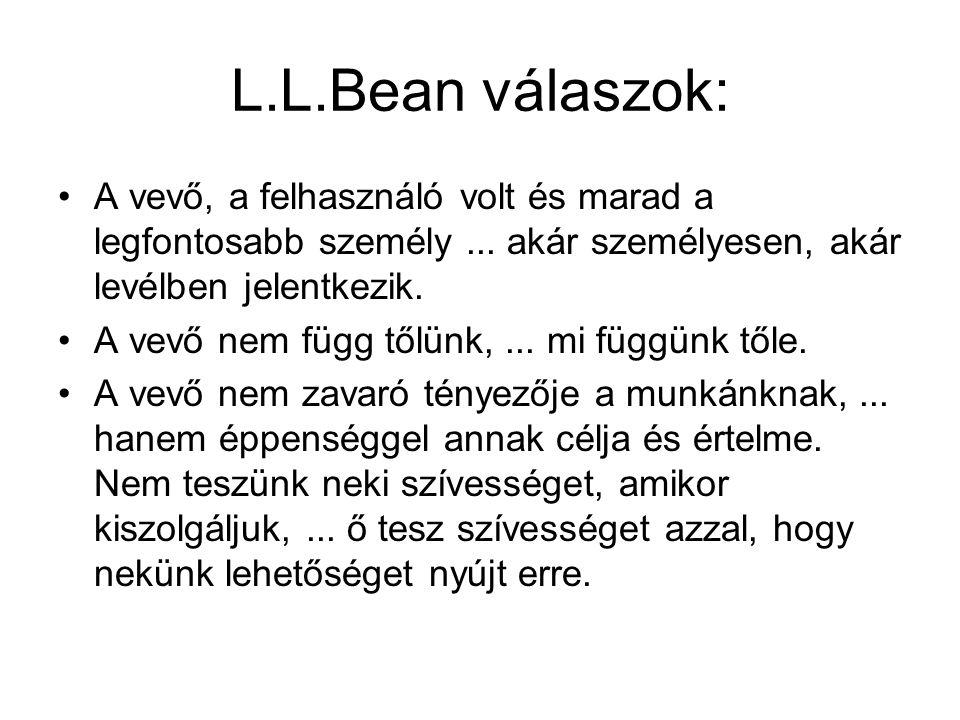 L.L.Bean válaszok: A vevő, a felhasználó volt és marad a legfontosabb személy ... akár személyesen, akár levélben jelentkezik.