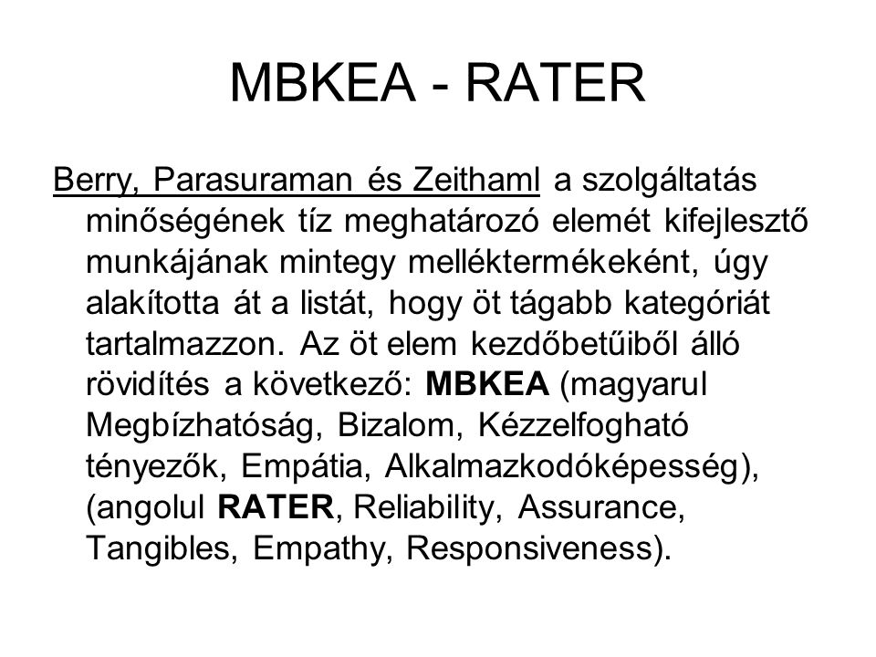 MBKEA - RATER