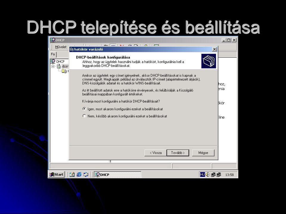 DHCP telepítése és beállítása