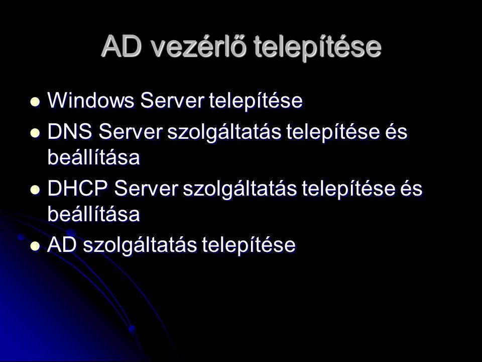 AD vezérlő telepítése Windows Server telepítése