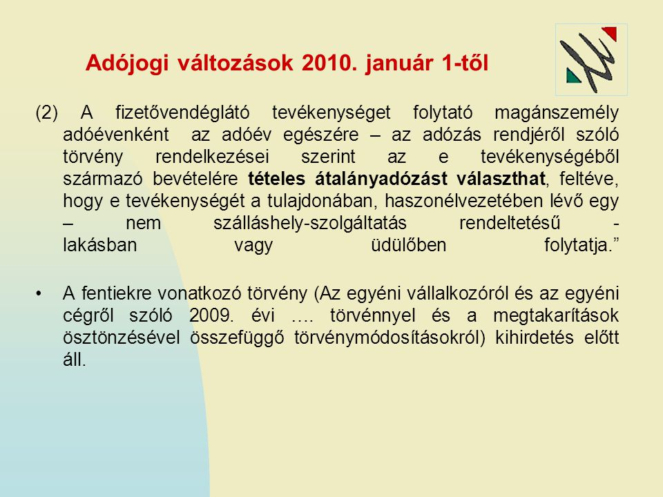 Adójogi változások 2010. január 1-től
