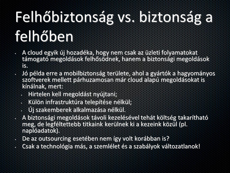 Felhőbiztonság vs. biztonság a felhőben