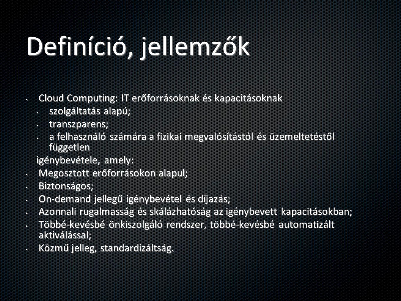 Definíció, jellemzők Cloud Computing: IT erőforrásoknak és kapacitásoknak. szolgáltatás alapú; transzparens;