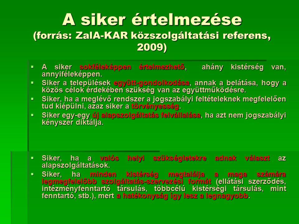 A siker értelmezése (forrás: ZalA-KAR közszolgáltatási referens, 2009)