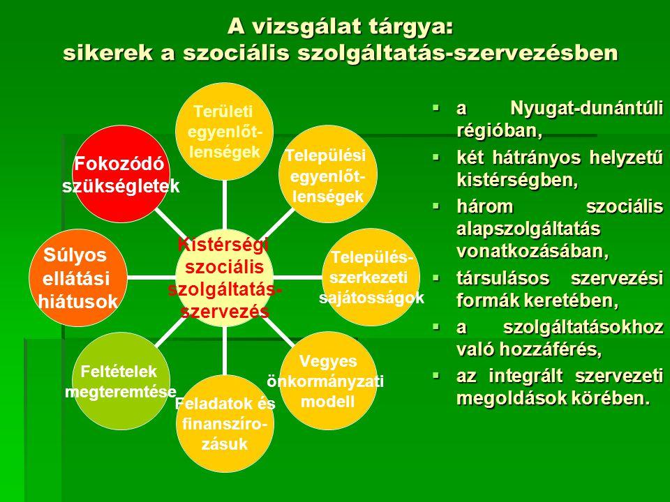 A vizsgálat tárgya: sikerek a szociális szolgáltatás-szervezésben