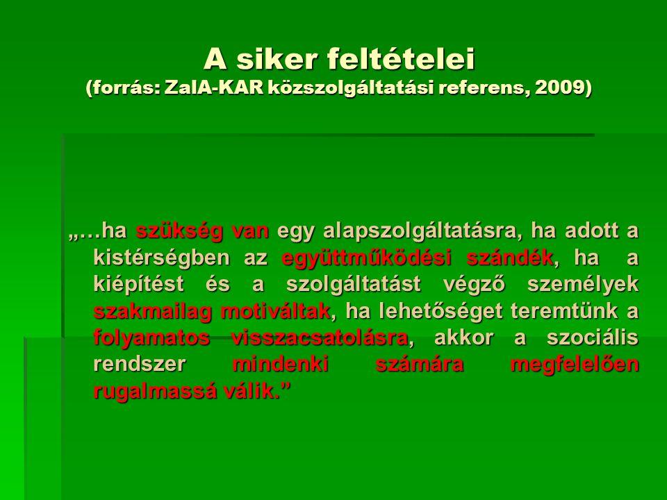 A siker feltételei (forrás: ZalA-KAR közszolgáltatási referens, 2009)