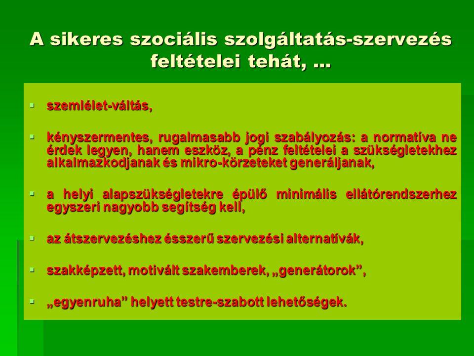 A sikeres szociális szolgáltatás-szervezés feltételei tehát, …