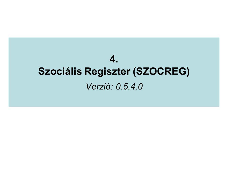 4. Szociális Regiszter (SZOCREG) Verzió: 0.5.4.0