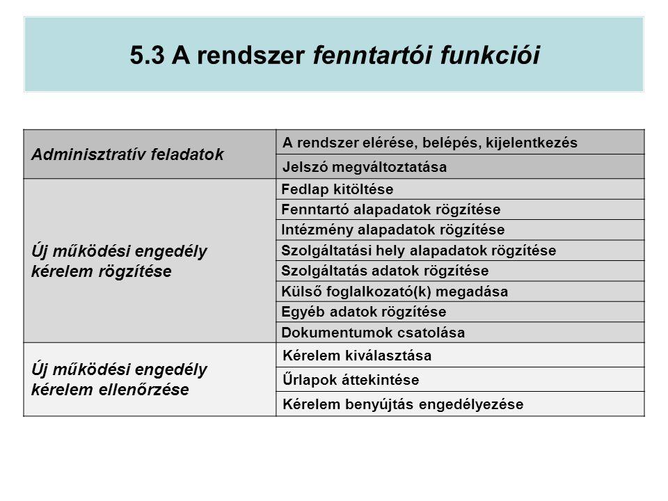 5.3 A rendszer fenntartói funkciói