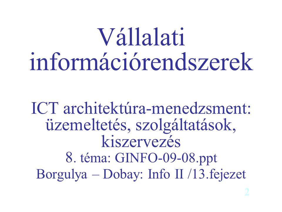 Vállalati információrendszerek ICT architektúra-menedzsment: üzemeltetés, szolgáltatások, kiszervezés 8. téma: GINFO-09-08.ppt Borgulya – Dobay: Info II /13.fejezet