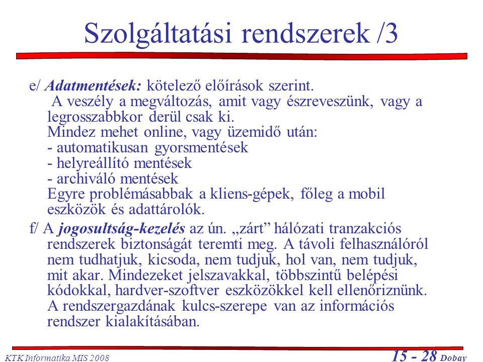 Szolgáltatási rendszerek /3