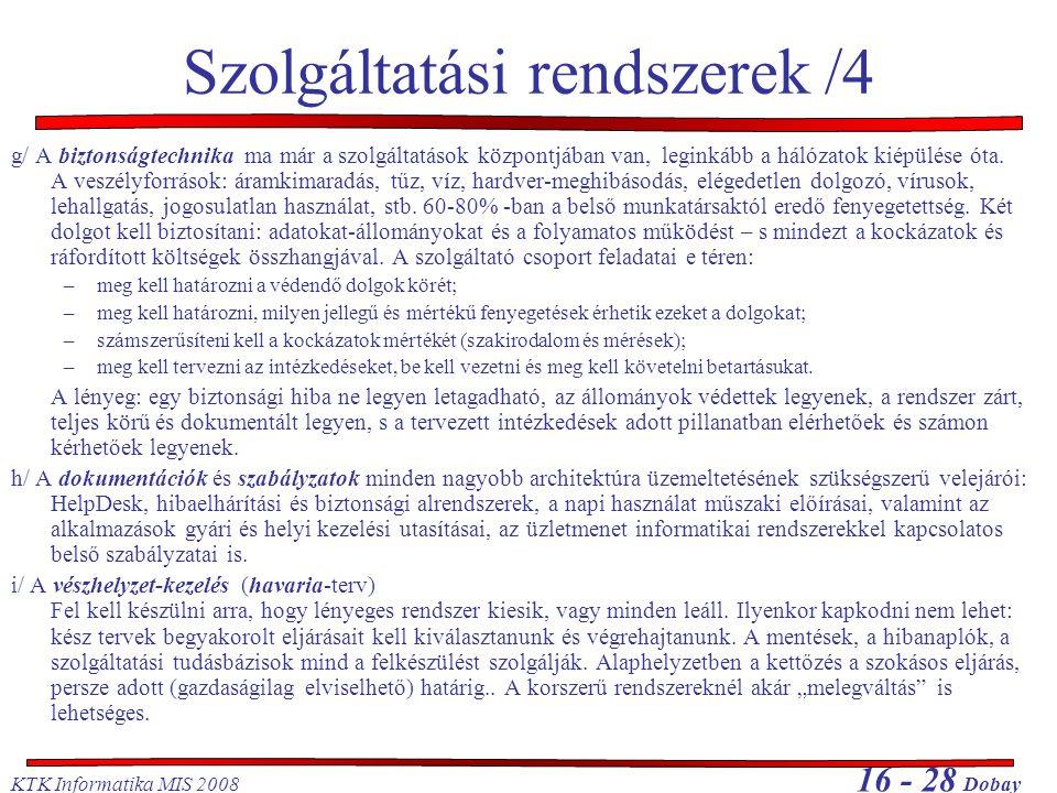 Szolgáltatási rendszerek /4