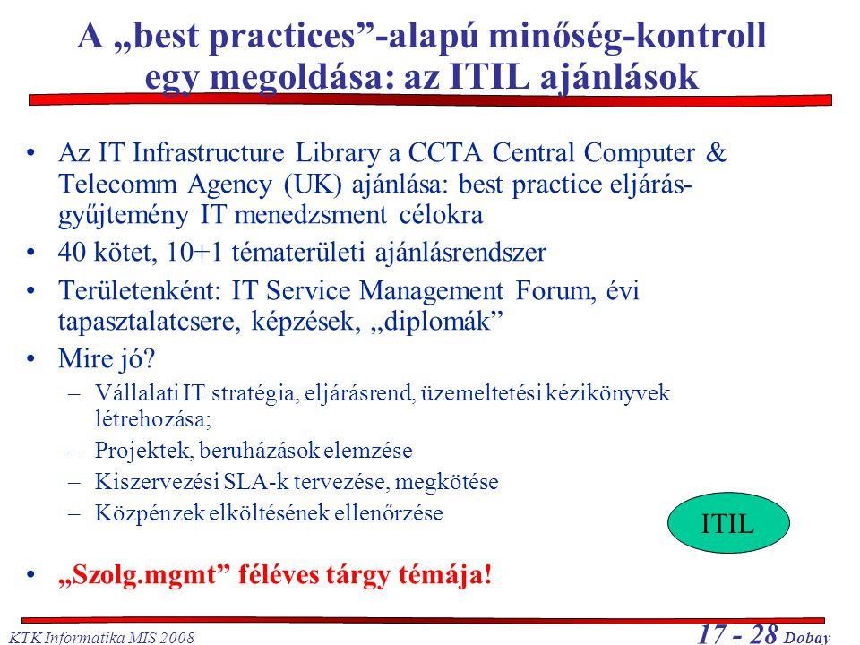 """A """"best practices -alapú minőség-kontroll egy megoldása: az ITIL ajánlások"""