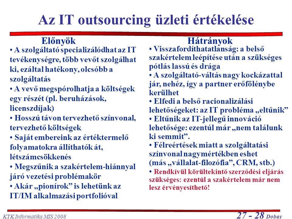 Az IT outsourcing üzleti értékelése