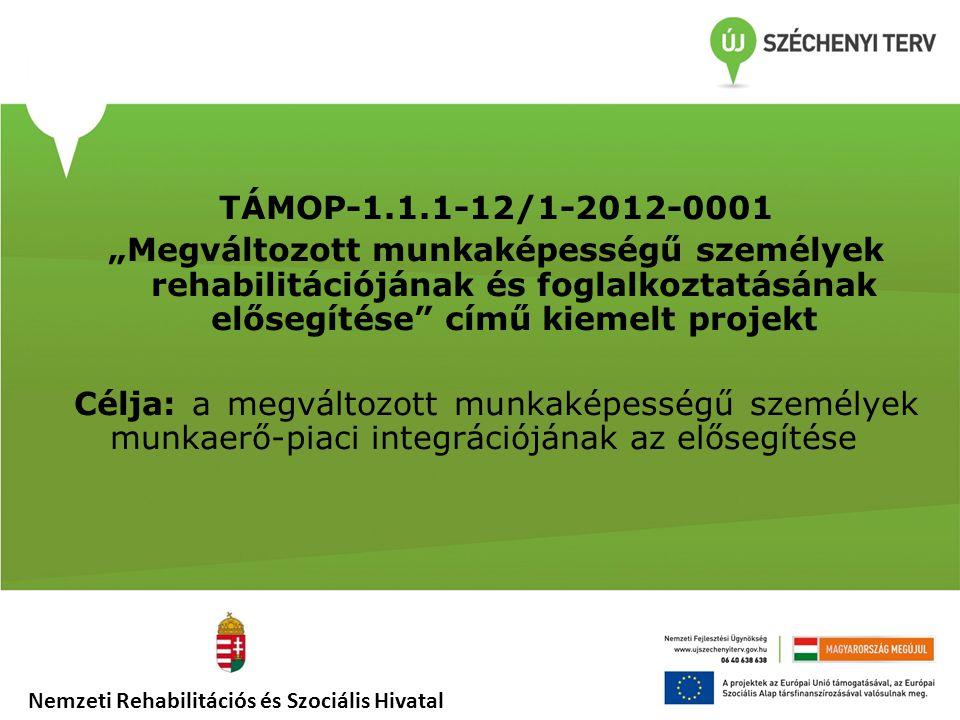 """TÁMOP-1.1.1-12/1-2012-0001 """"Megváltozott munkaképességű személyek rehabilitációjának és foglalkoztatásának elősegítése című kiemelt projekt Célja: a megváltozott munkaképességű személyek munkaerő-piaci integrációjának az elősegítése"""