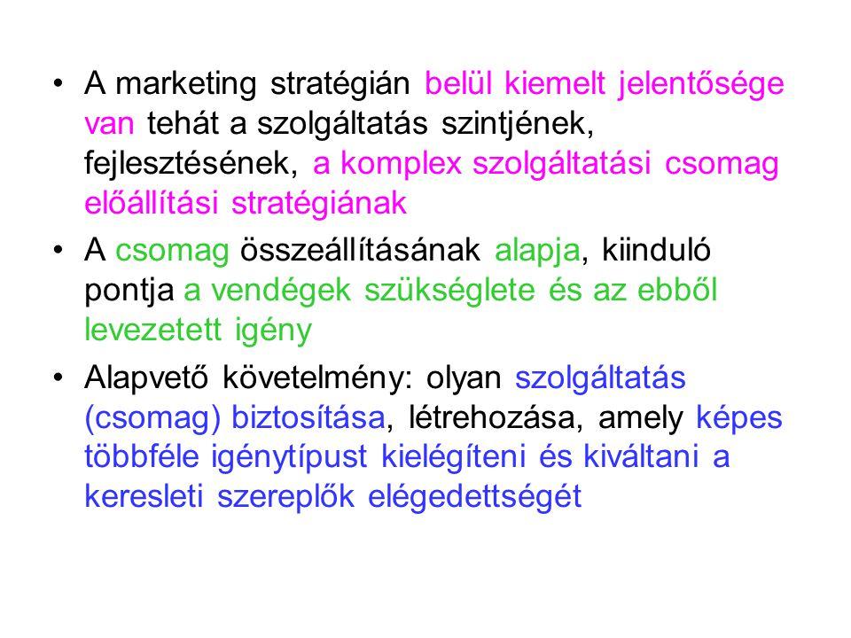 A marketing stratégián belül kiemelt jelentősége van tehát a szolgáltatás szintjének, fejlesztésének, a komplex szolgáltatási csomag előállítási stratégiának