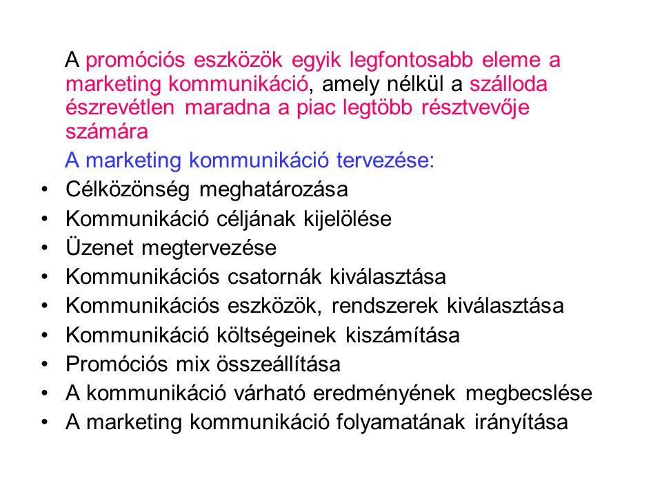 A promóciós eszközök egyik legfontosabb eleme a marketing kommunikáció, amely nélkül a szálloda észrevétlen maradna a piac legtöbb résztvevője számára