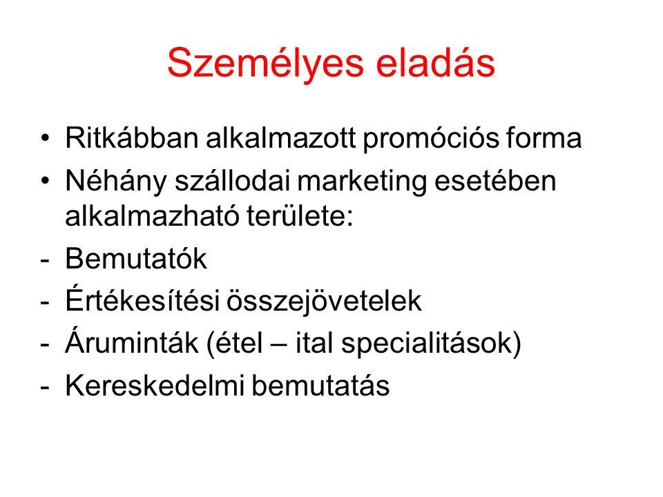 Személyes eladás Ritkábban alkalmazott promóciós forma