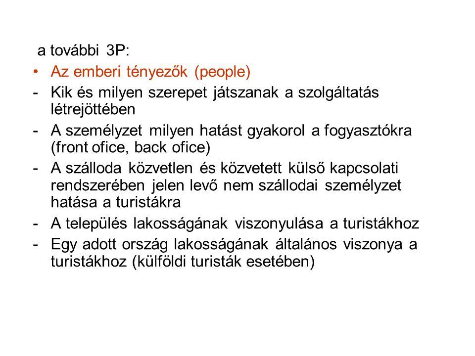 a további 3P: Az emberi tényezők (people) Kik és milyen szerepet játszanak a szolgáltatás létrejöttében.