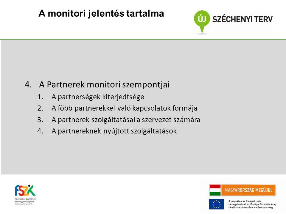 A monitori jelentés tartalma