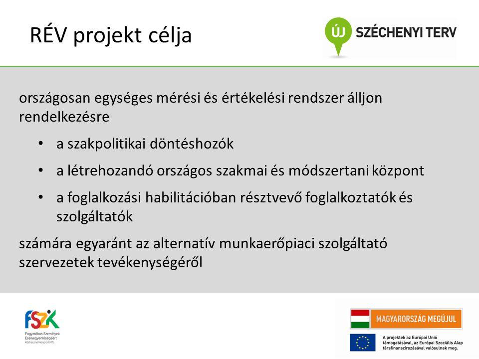 RÉV projekt célja országosan egységes mérési és értékelési rendszer álljon rendelkezésre. a szakpolitikai döntéshozók.